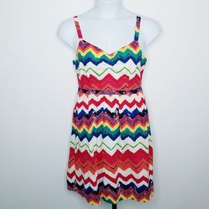 ModCloth Dreams & Desires Rainbow Chevron Dress